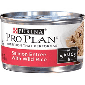 PURINA PRO PLAIN BRAISED SALMON W/WILD RICE FOR CATS 3 OZ 24 COUNT (6/19) A.J2)