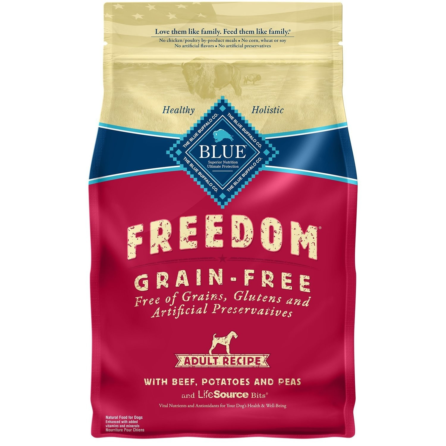 Blue Buffalo Freedom Grain Free Beef Recipe Adult Dog Food, 4 lbs  (6/19) (A.L3)