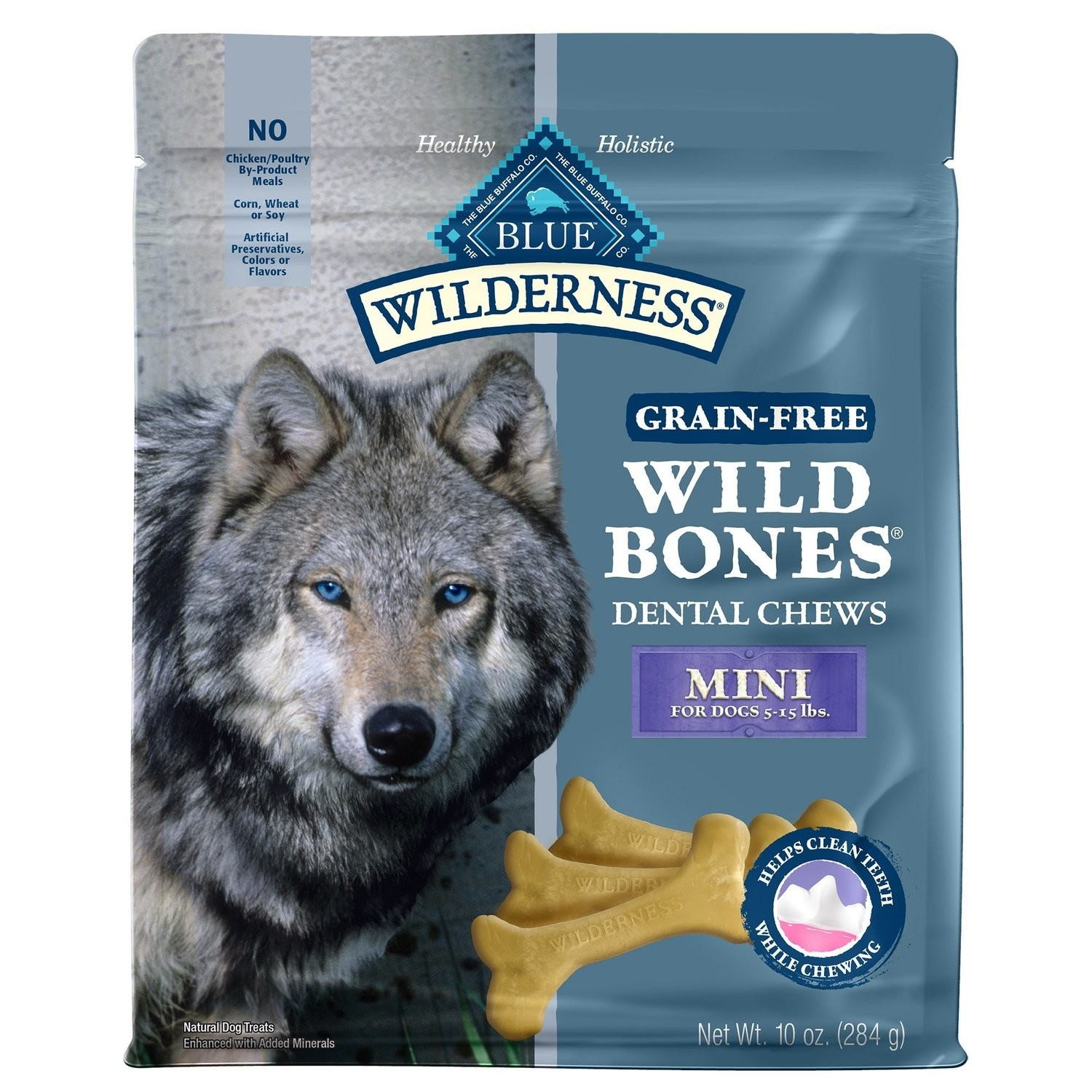Blue Buffalo Wilderness Mini Wild Bones Dog Dental Chews, 10 oz.  (6/19) (T.F14/DT)