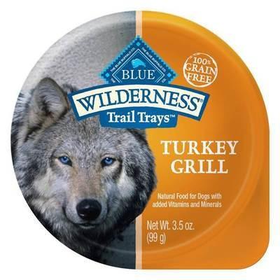 Blue Buffalo Wilderness Trail Trays Turkey Grill Dog Food 3.5 oz 12 count (4/19) (A.K2)