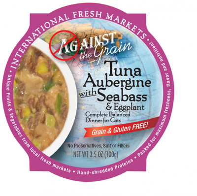 Against The Grain Tuna Aubergine Cat Food 3.5 Oz. 12 count (1/19) (A.C3/CW)