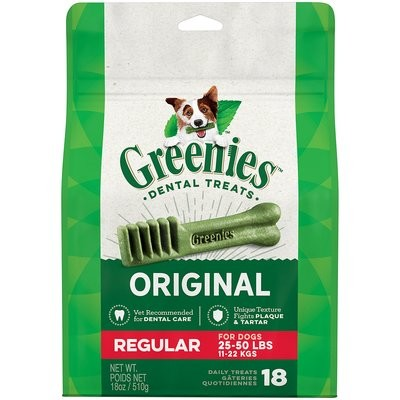 Greenies Dental Treats Regular Size (18 oz.; Pack of 18 chews; For Pets 25-50 lb (3/19) (T.A10)