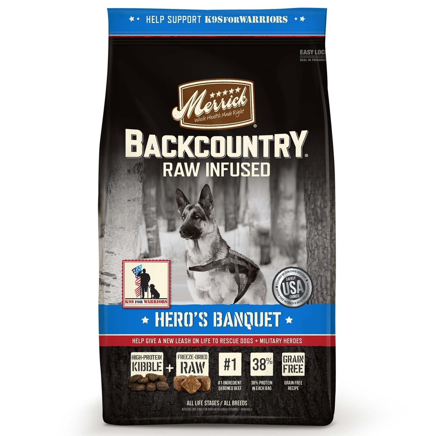 Merrick Backcountry Grain Free Hero's Banquet Dry Dog Food, 4 lbs (2/19) (A.K1)