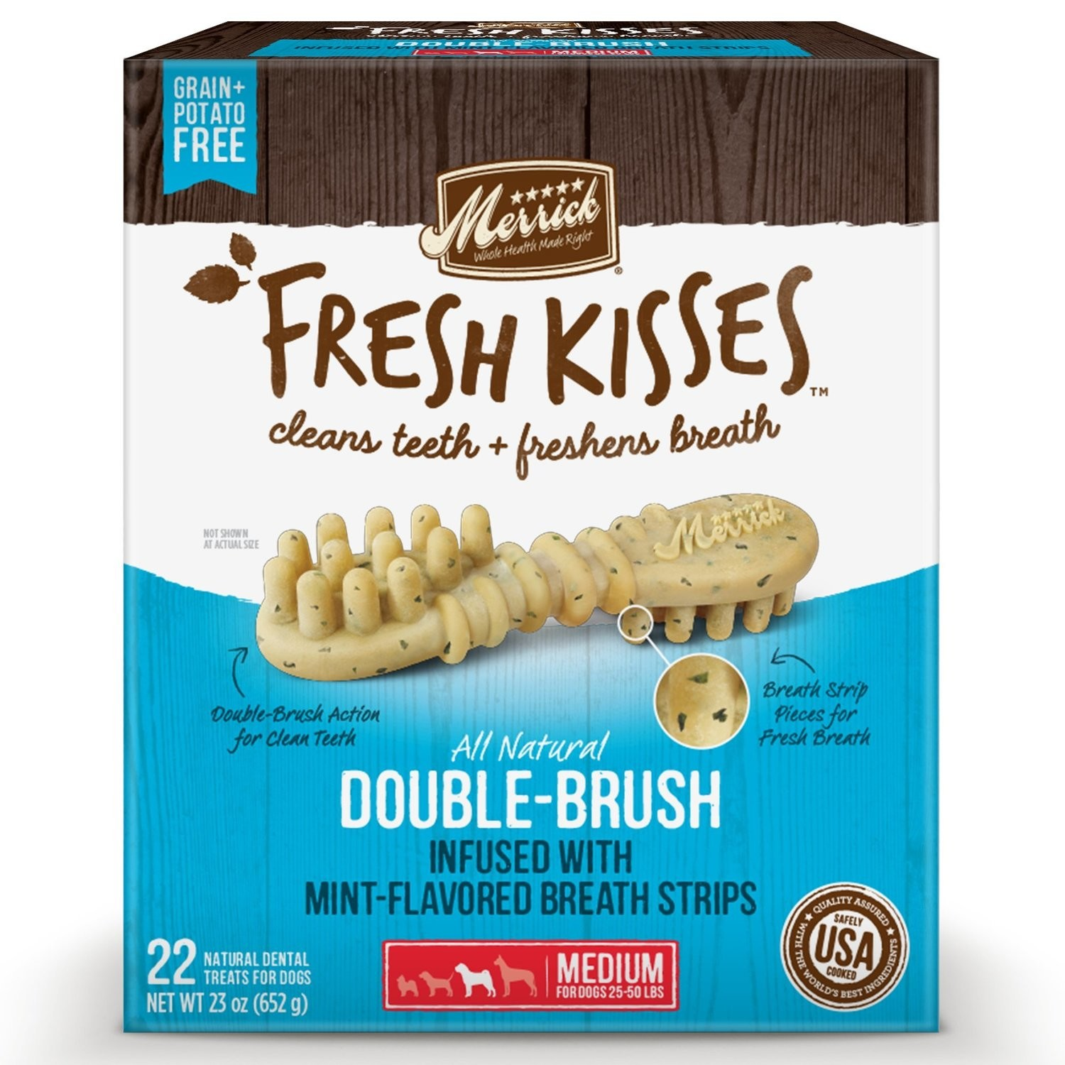 Merrick Fresh Kisses Mint Breath Strips Medium Brush Dental Dog Treats, 22 Count  #66054 (2/19) (A.K4/DT)