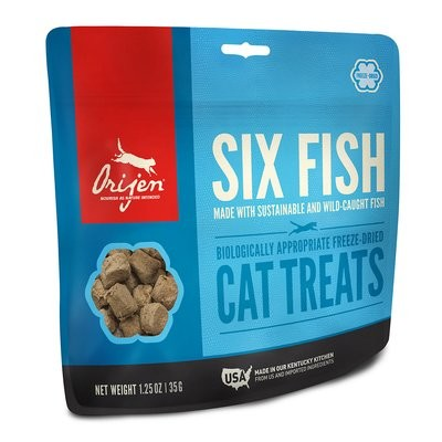 ORIJEN 6 Fish Freeze-Dried Cat Treats, 1.25 oz. (5/19) (A.Q1)