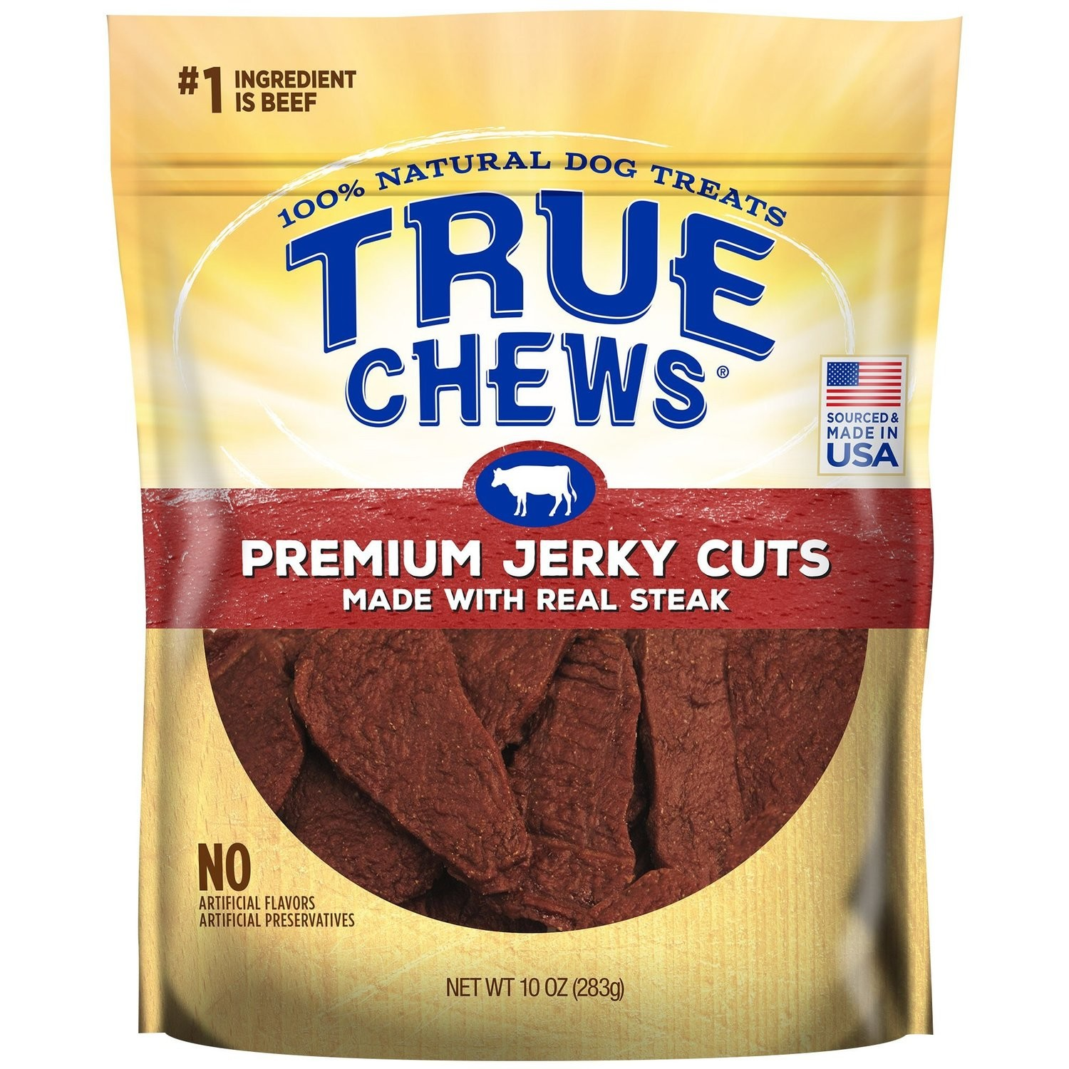 True Chews Premium Jerky Cuts Made with Real Steak Natural Dog Treats, 10 oz. (3/19) (T.A14/DT)