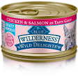 Blue Wilderness Wild Delights Chicken & Salmon Wet Cat Food 3 oz 24 count (9/19) (A.L4)
