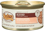 Nutro Adult Sliced Salmon Entree in Savory Sauce Grain-Free Canned Cat Food 3 oz 24 count (8/19) (A.J2)