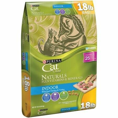 Purina Cat Chow Naturals Indoor Plus Vitamins & Minerals Cat Food 18 lbs (8/19) (A.L4)