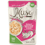 Purina Muse Natural Salmon Recipe with Scallops in Broth Wet Cat Food 1.76 oz 16 Pouches (9/19) (A.K5)