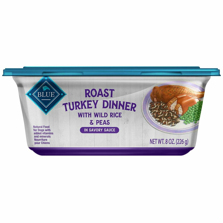 Blue Buffalo Roast Turkey Dinner with Wild Rice and Peas 8 oz. tub, Case of 8 (05/19) (A.E1)