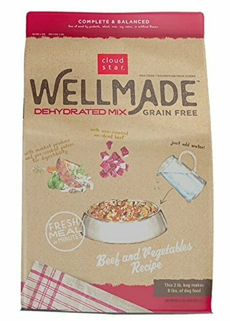 Cloud Star Wellmade Grain Free Dehydrated Beef & Vegetable Dry Dog Food 3 lbs (02/19) (A.R5/DD)