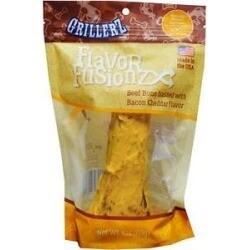 Grillerz Flavor Fusionz Beef Bone with Bacon Cheddar Dog Treat 4 oz  (02/19) (A.H3/DT)