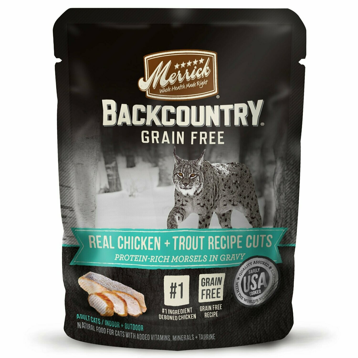 Merrick Backcountry Grain-Free Real Chicken  Trout Recipe Cuts Wet Cat Food 3 oz 24 count pouches (05/19) (A.R1/CW)