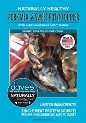 Dave's Naturally Healthy Pork Meal & Sweet Potato Adult Dry Dog Food 18 lbs (05/19) (A.M5)