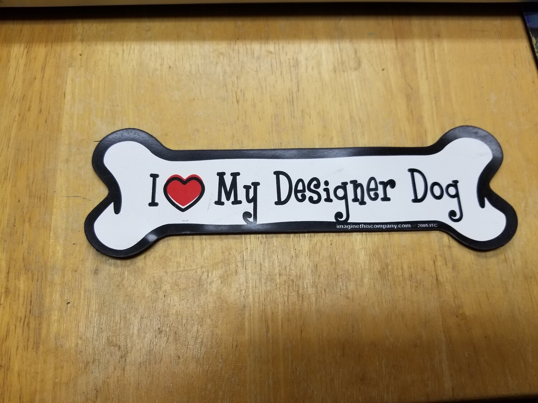 Magnets - Irregular - Small Bone Shape - I Love My Designer Dog (O.U1)