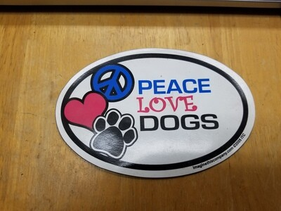 Magnets - Irregular - Oval - Peace Love DOGS (O.U1)