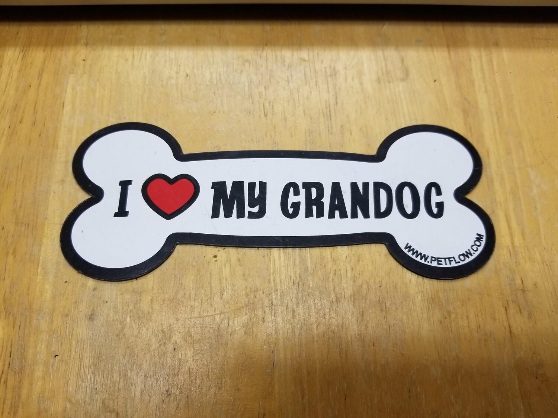 Magnets - Irregular - Small Bone Shape - I Love My Grandog (O.U1)