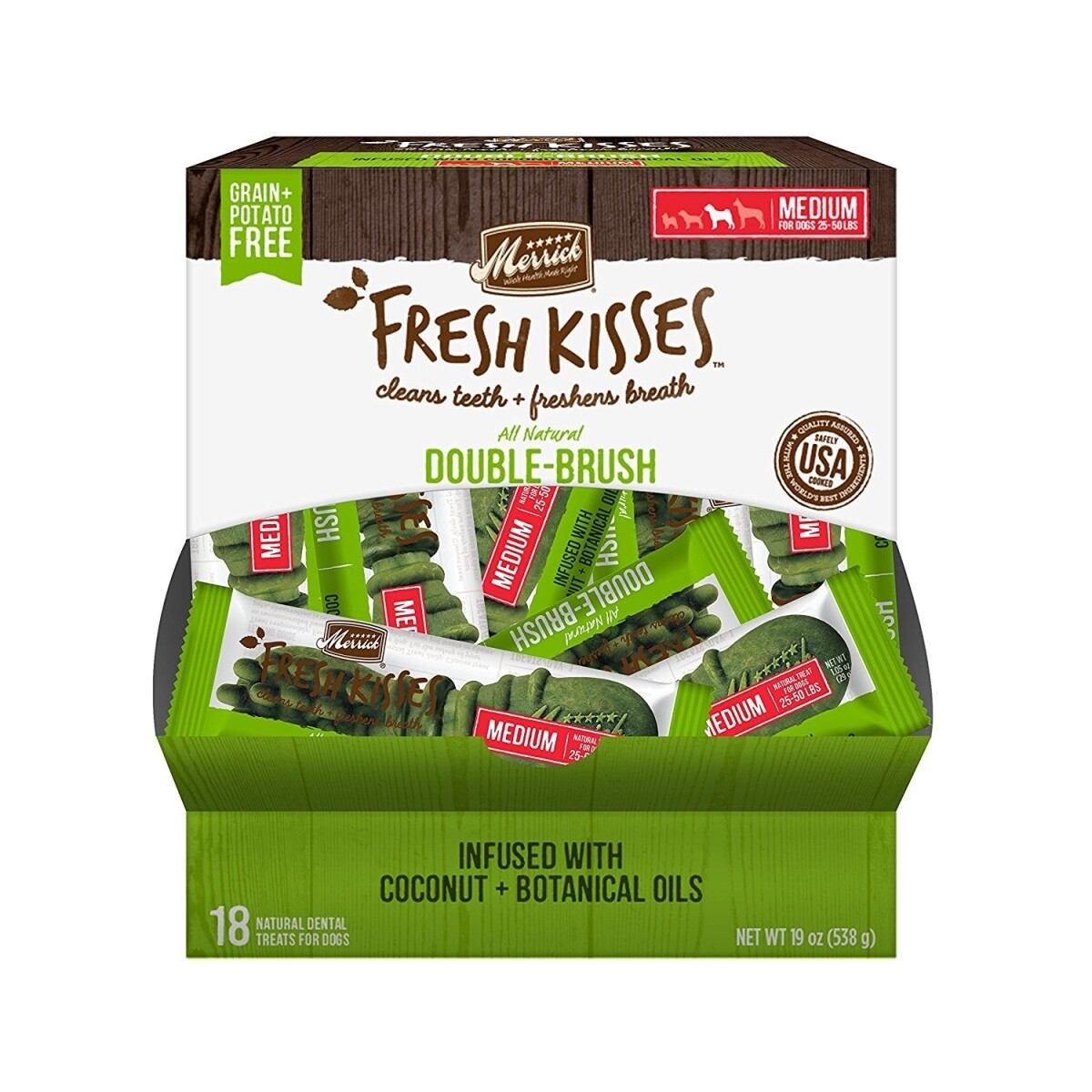 Merrick Fresh Kisses Coconut Oil Extra Small Brush  Dental Dog Treat - 18 Count #66018 (03/19) (A.K5)