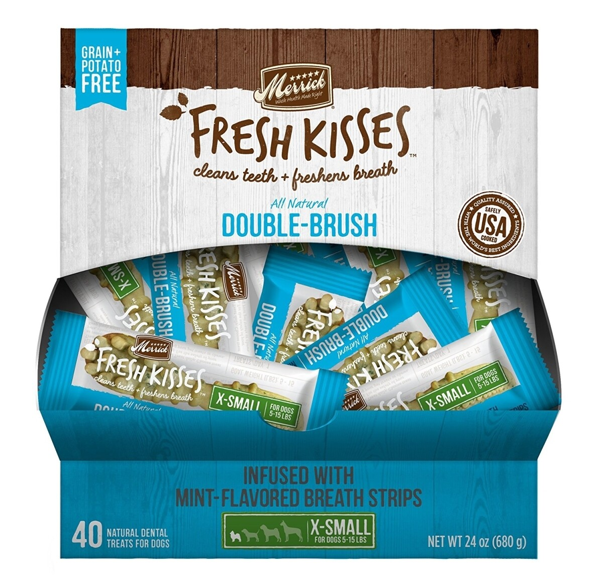 Merrick Fresh Kisses Mint Breath Strips Extra Small Dental Dog Treat - 40 Count #66036 (01.19) (A.M4)