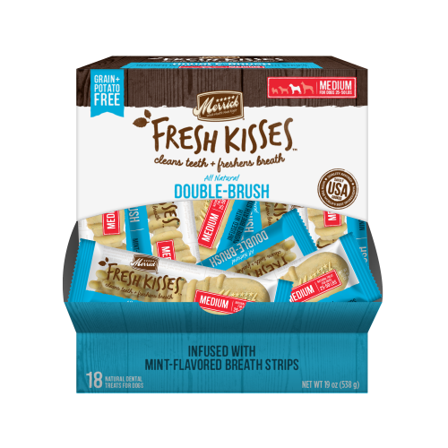 Merrick Fresh Kisses Mint Strips Medium Dental Dog Treats - 18 count #66038 (02/19) (A.K5)
