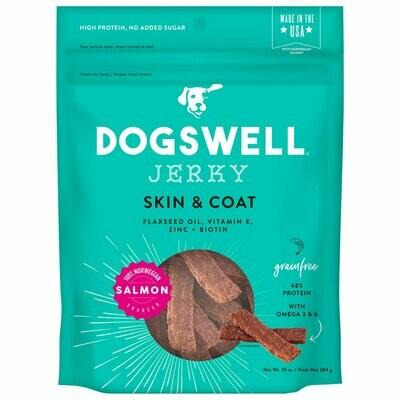 Dogswell Skin & Coat Jerky Grain-Free Salmon for Dogs 10 oz (7/19) (T.G4/DT)