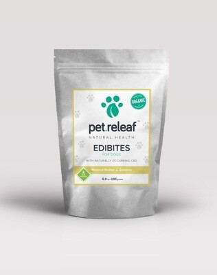 Pet Releaf EPB100 Peanut Butter Banana CBD Hemp Oil Edibites for Dogs, 6. 5 oz (2/19) (O.O2/PR)