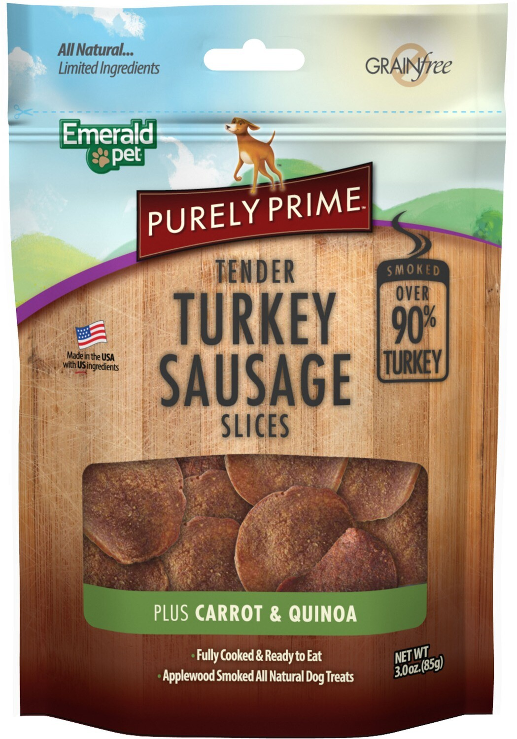Emerald Pet Products Purely Prime Turkey Sausage Slices, Carrot Dog Treats  3 OZ (12/18) (A.P4)