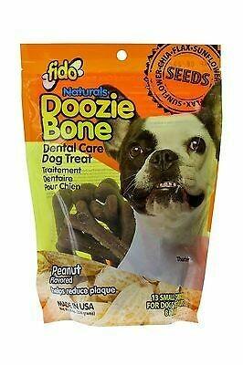 Fido Naturals Doozie Bone Dental Care Dog Bones, Peanut Flavor, 13 ct. Small (9/18) (T.C7-JD)