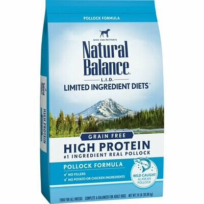Natural Balance Limited Ingredient Diets High Protein Grain Free Pollock Formula 24 lb (9/19) (A.K2)