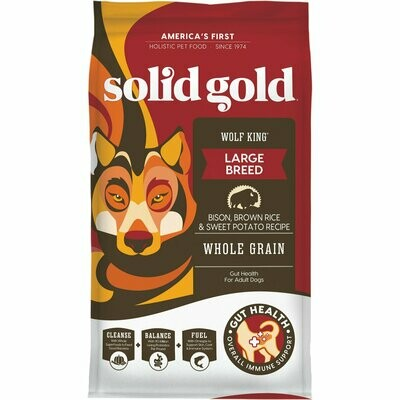 Solid Gold Wolf King Bison, Brown Rice & Sweet Potatoes Adult Dog Food, 12 lbs.  (11/19) (A.K1)