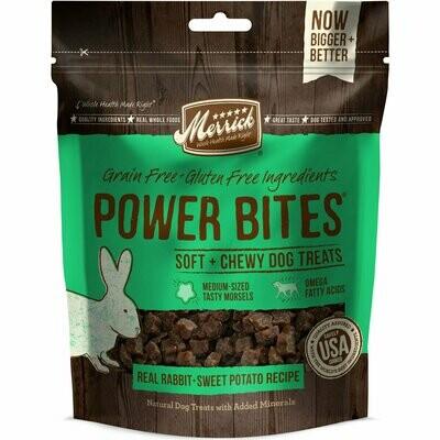 Merrick Power Bites Real Rabbit & Sweet Potato All Life Stages Dog Treats, 6 Oz (5/19) (T.B4)