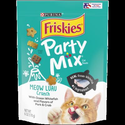 Friskies Party Mix Cat Treats, Meow Luau Crunch, Pork, Ocean Fish & Crab 6-ounce (2/20) (T.A1)