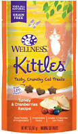 5 FUR $1.00 Wellness 100% all-natural grain-free kittles tasty crunchy cat treats turkey and cranberry recipe 2 ounces under 2 cal per treat (3/19) **Buy 5 Get 10, Buy 10 Get 20, Buy 3 Get 30, etc. **
