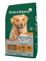 """DISCONTINUED Muenster Perfect Balance """"Elite"""" Chicken No Corn No Soy No Wheat Dry Dog Food **40 Pound Bag** (A.D2)"""
