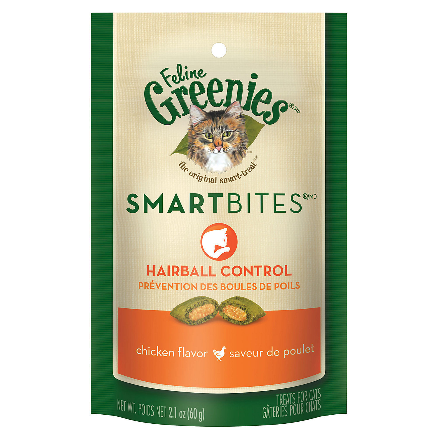 Greenies Feline SmartBites Hairball Control Chicken Flavor Cat Treats (1/18)  (T.E4)