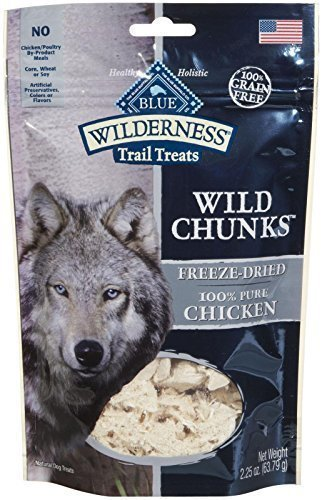 Blue Buffalo Wilderness Trail Treats - 100% Chicken Wild Chunks  FREEZE DRIED DOG  - 2.25 Oz (7/17) (T.D3)