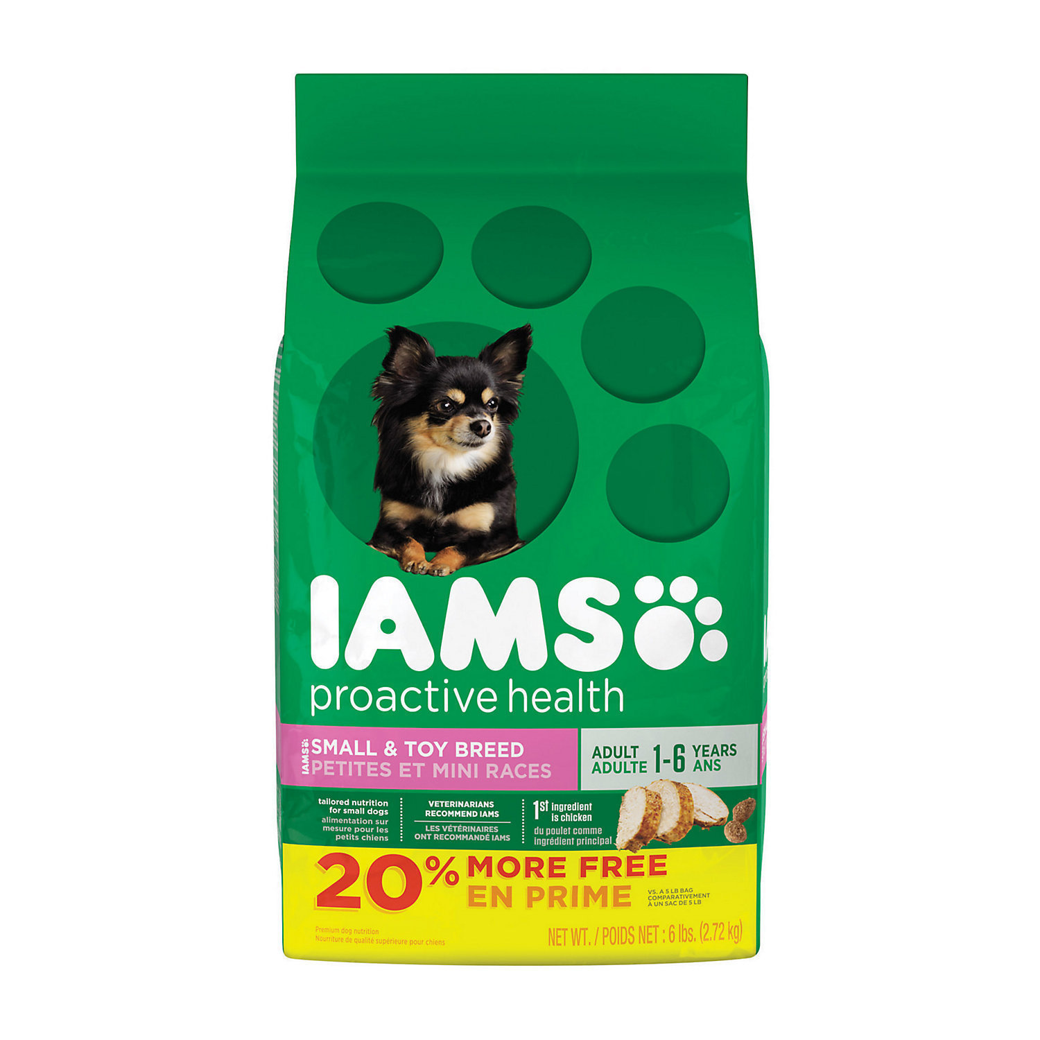 Iams ProActive Health Small & Toy Adult Dog Food, 6 lbs. (3/19)  (A.M7)