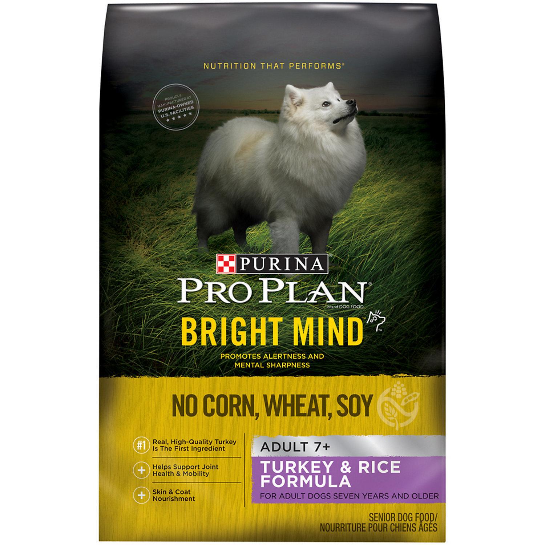 Purina Pro Plan Bright Mind Adult 7+ Turkey & Rice Formula Senior Dry Dog Food 4 lbs (9/18) (RPAL-K1)
