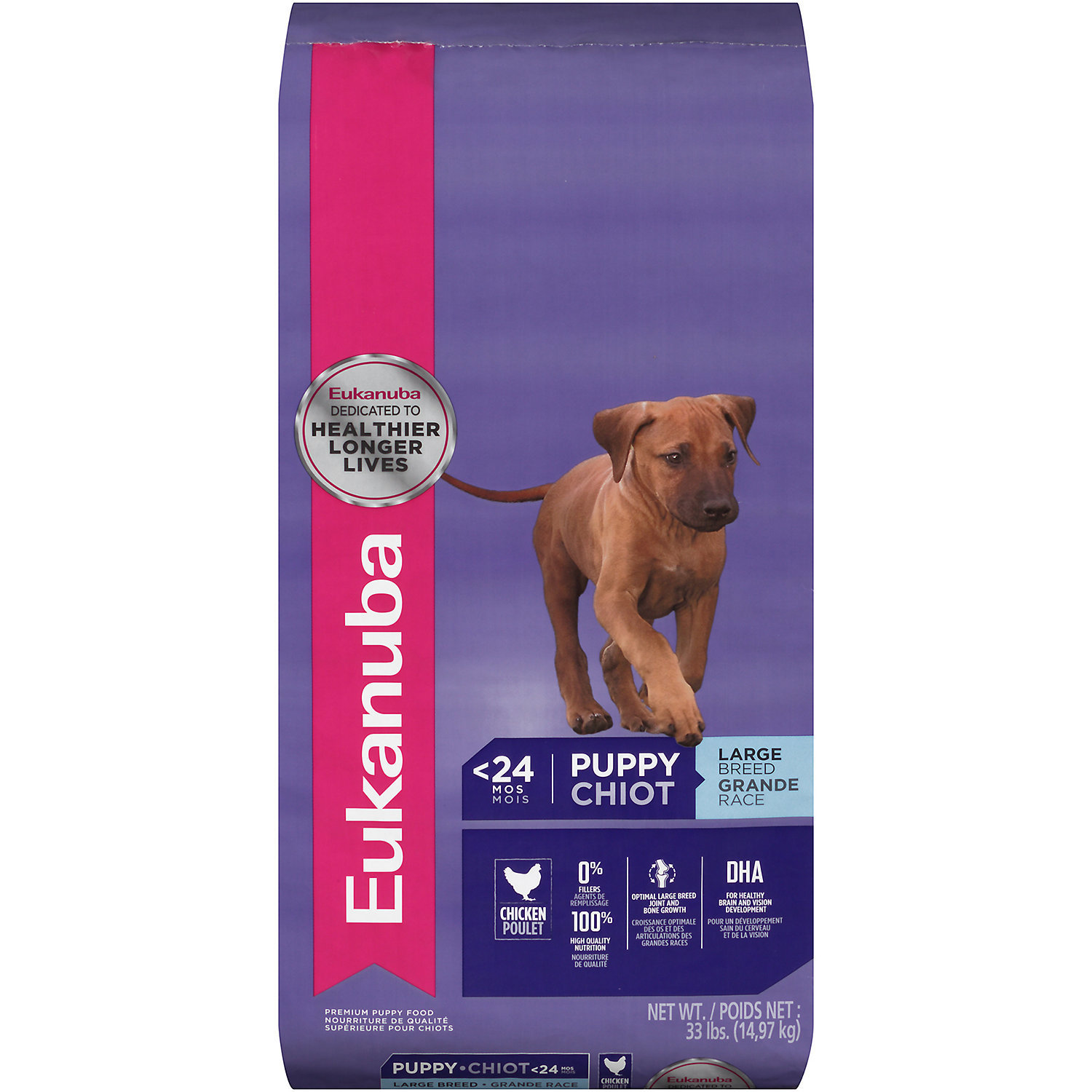 Eukanuba Large Breed Chicken Puppy Food 33 lbs (07/18) (A.F3)