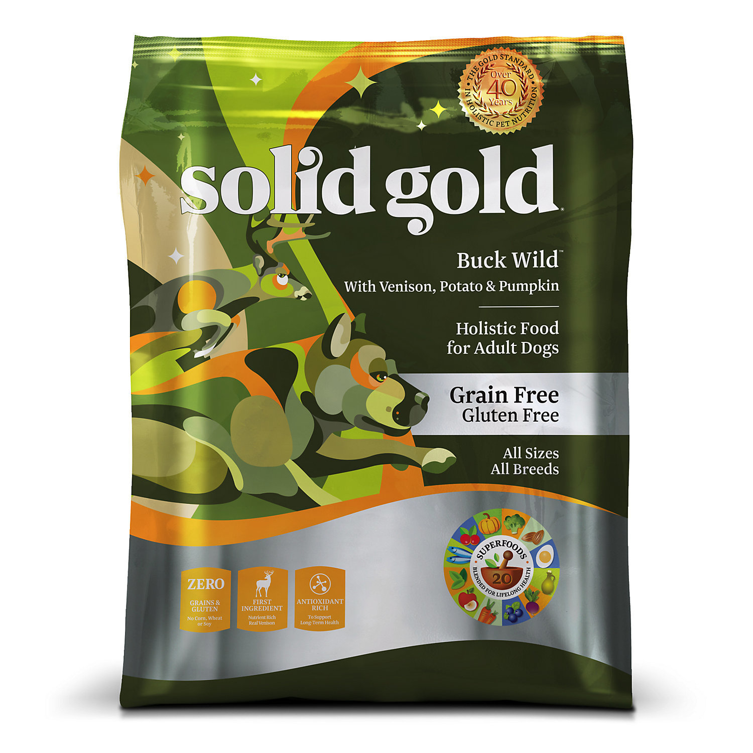 Solid Gold Buck Wild Venison, Potato & Pumpkin Grain Free Adult Dog Food, 4 lbs. (2/19) (A.I1)