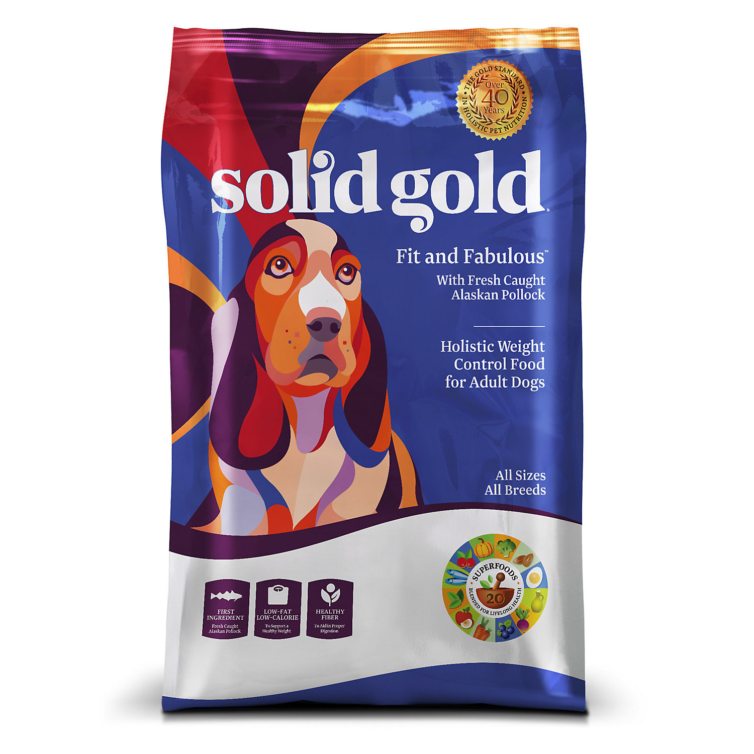 Solid Gold Fit & Fabulous Alaskan Pollock Weight Control Adult Dog Food, 4 lbs. (6/18) (A.H2)