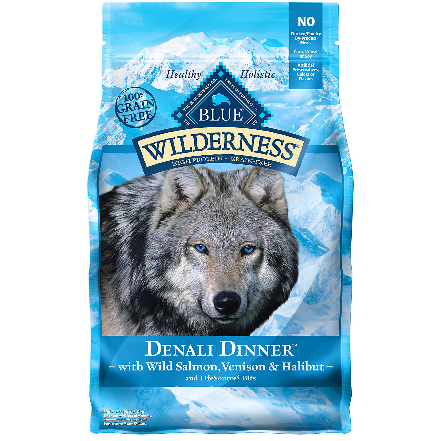 BLUE Wilderness Denali Dinner with Wild Salmon, Venison, & Halibut Dry Dog Food, 4 lb.  (8/18) (A.J2)