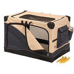 Navy/Tan Softside Water Resistant Canvas Pet Crate (42X28X27) (B.W3/AM2)