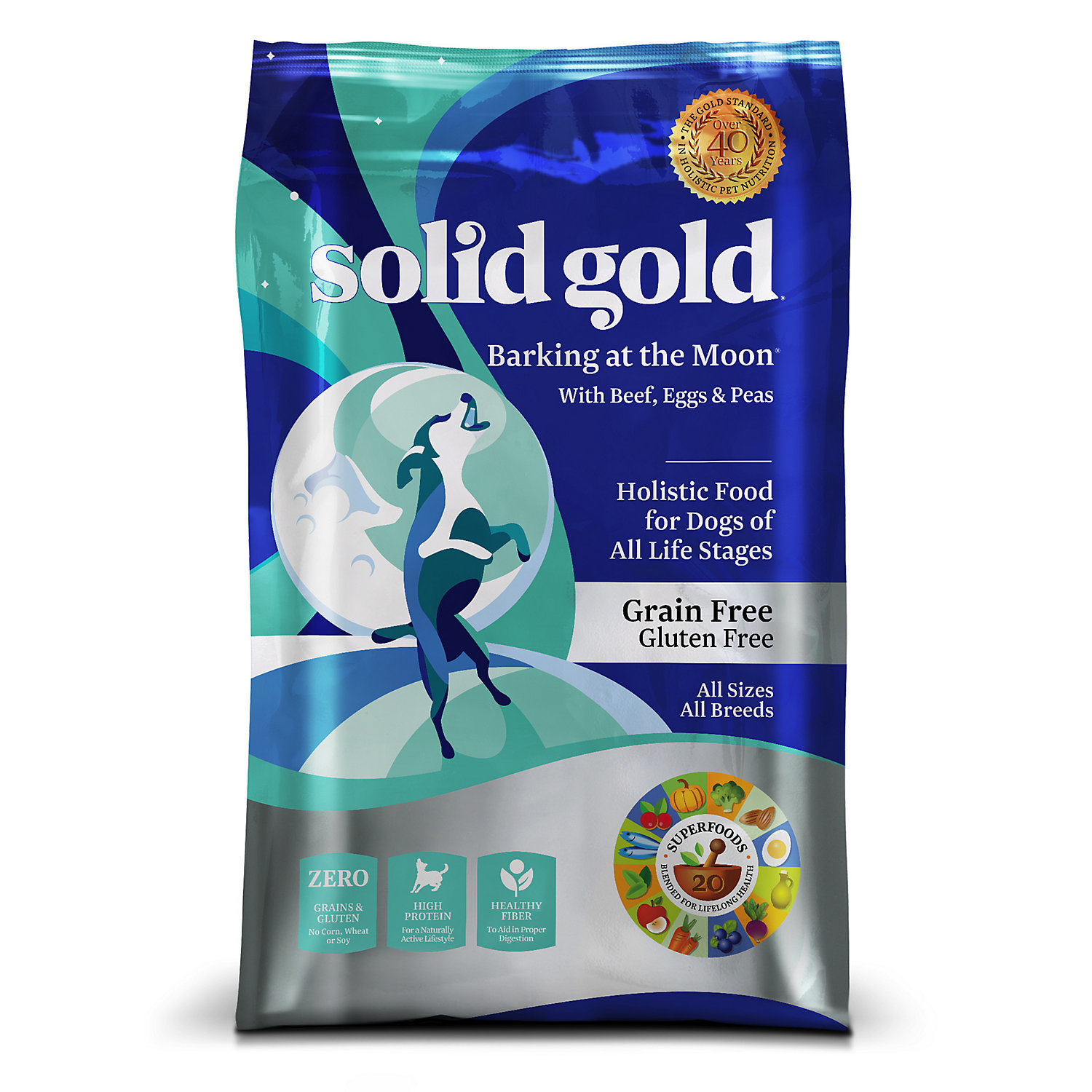 Solid Gold Barking at the Moon Beef, Egg & Peas Grain Free Adult Dog Food, 12 lb (9/18)  (A.I4)
