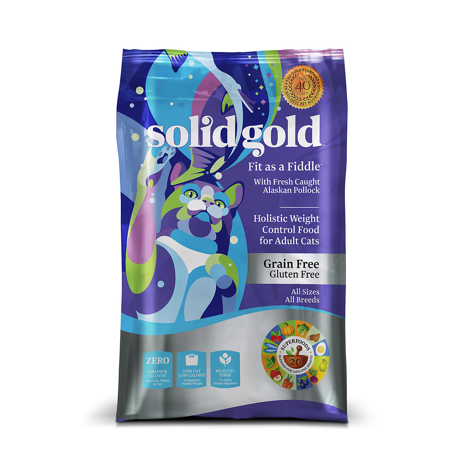 Solid Gold Fit As A Fiddle Alaskan Pollock Weight Control Adult Dry Cat Food, 3 lbs. (9/18)  (A.J3)