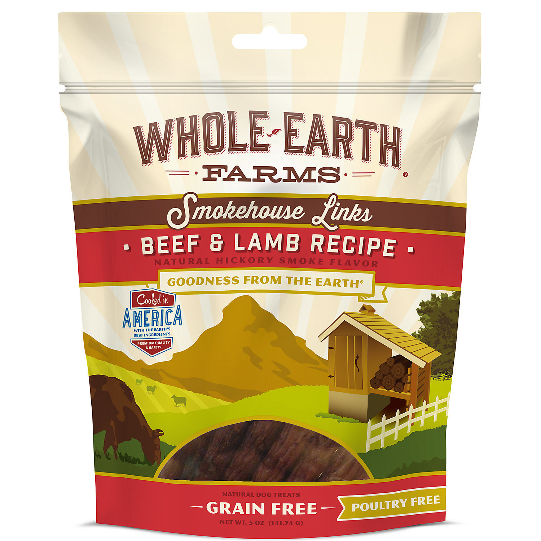 Whole Earth Farms Grain Free Smokehouse Links Beef & Lamb Recipe Dog Treats, 5 Oz (8/18) (T.E13)