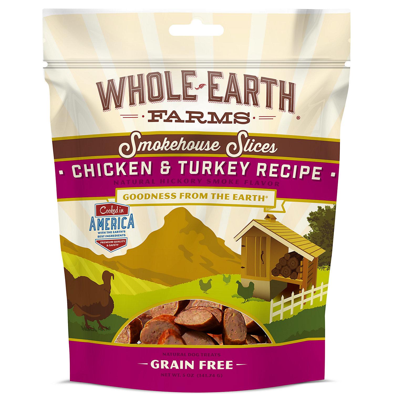 **SALE** Whole Earth Farms Grain Free Smokehouse Slices Chicken & Turkey Recipe Dog Treat 5 oz (8/18)  (T.E11)