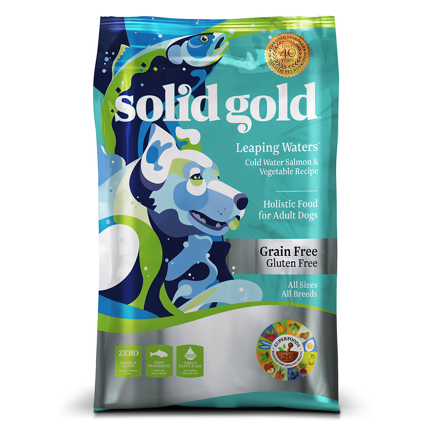 Solid Gold Leaping Waters Salmon & Vegetable Grain Free Adult Dog Food, 22 lbs. (9/18)  (A.H2)