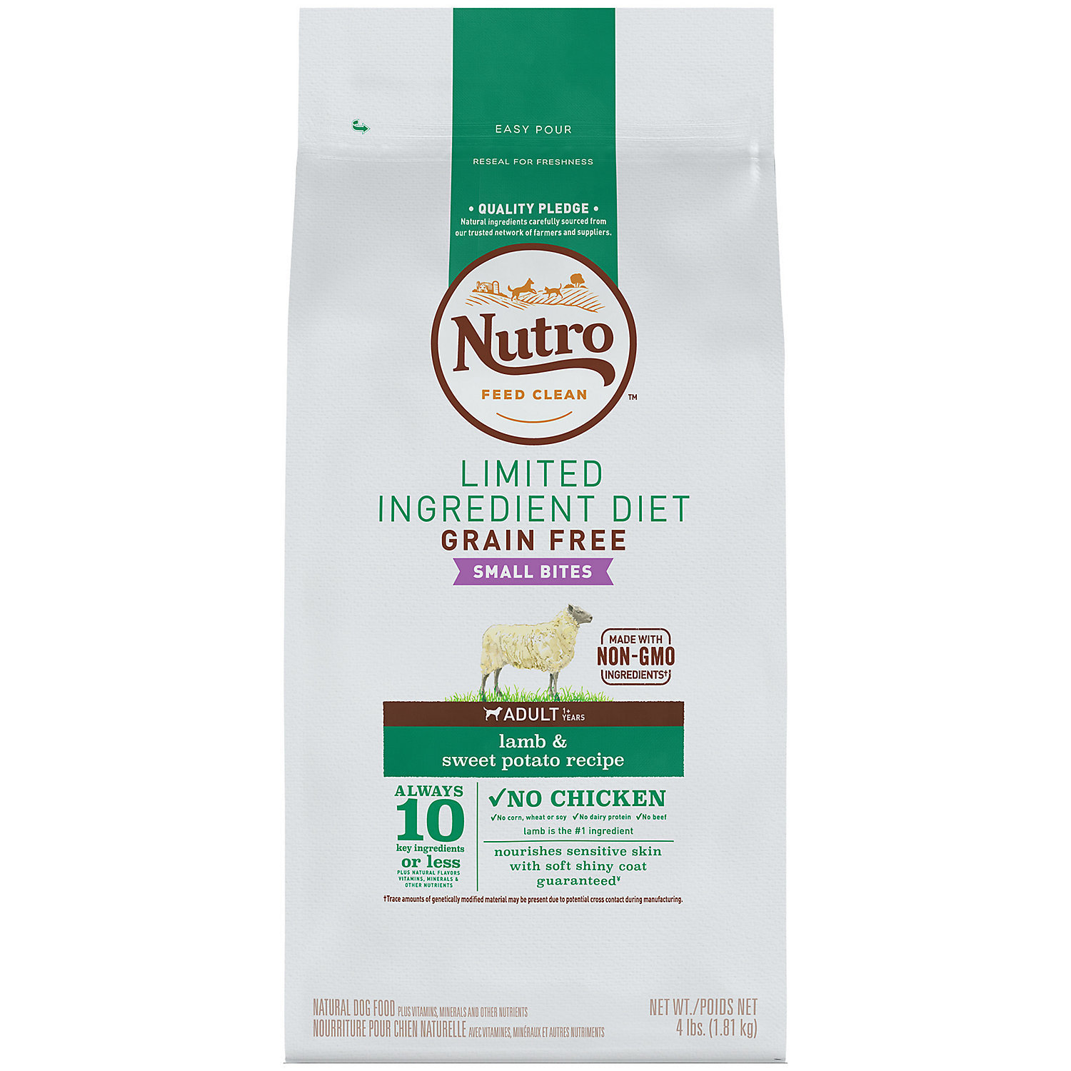 Nutro Limited Ingredient Diet Small Bites Adult Lamb & Sweet Potato Dog Food 4 lbs  (11/18) (A.N5)